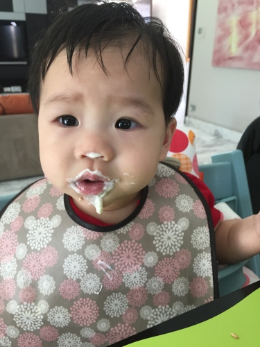 f77179350872a ... pasteurized, whole-milk yogurt after they start eating solids – at  around 6 months. Plain Greek yogurt is fine too (and the more live  cultures, ...